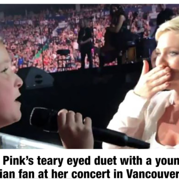 Watch Pink's teary eyed duet with a young Canadian fan at her concert in Vancouver